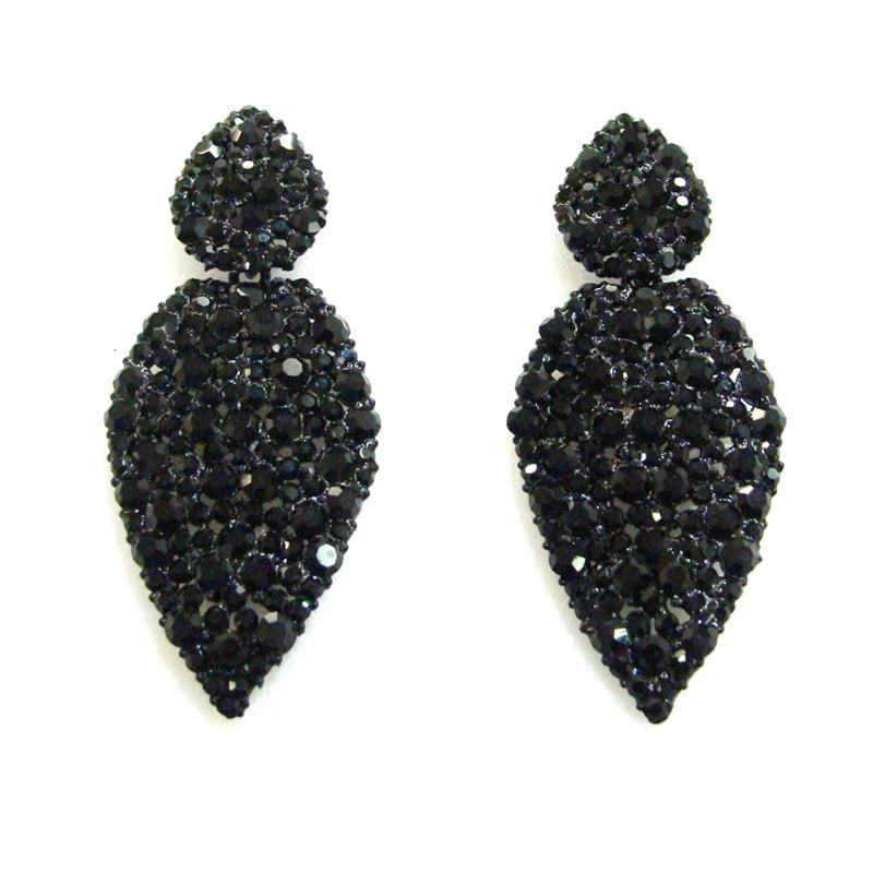 Brinco gota com cristais pretos