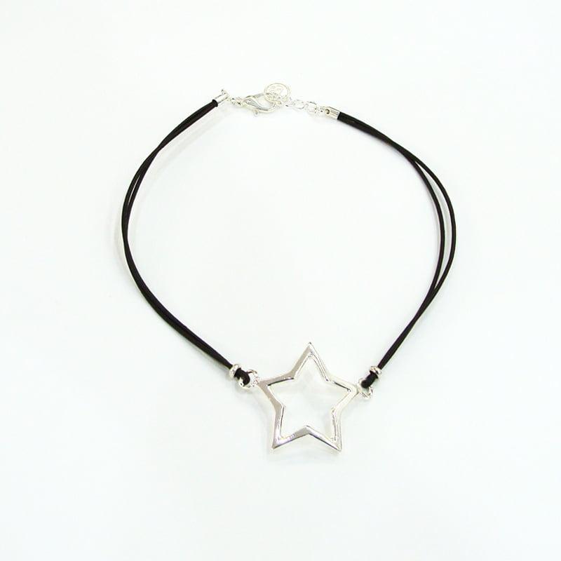 Choker estrela prateada