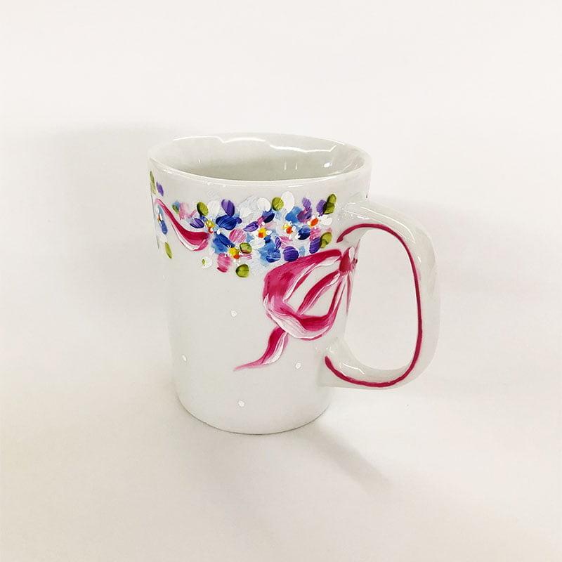 Caneca de cerâmica mini florzinhas laço rosa