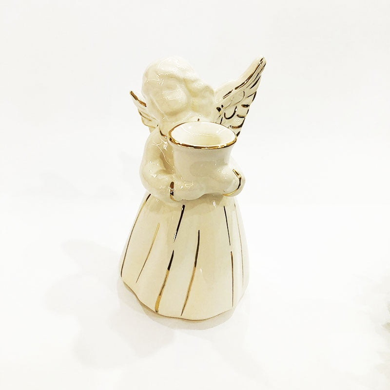 Estátua Anjo porta vela de cerâmica