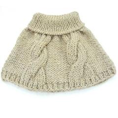 Mini poncho de tricot bege