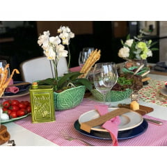 Trilho de mesa tecido listrado vermelho e branco II Blog à Bolonhesa