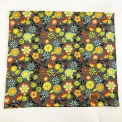 Trilho de mesa grande floral cinza coleção Meu Jardim