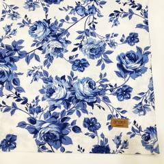 Trilho de mesa floral azul e branco