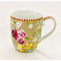 Caneca pequena chinese bege - floral