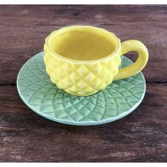 Xícara abacaxi ceramica
