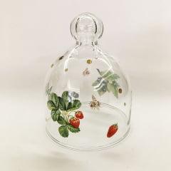 Mini redoma de vidro decorada moranguinhos