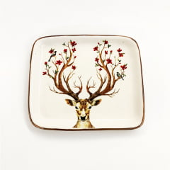 Travessa rasa pequena Rena Deer ceramica Luiz Salvador