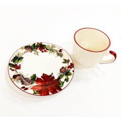 Xícara de chá de cerâmica flor bico de papagaio